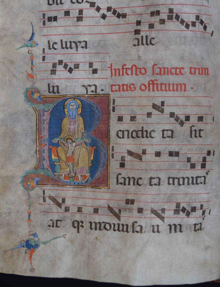 This choirbook with Gregorian chant dates from the late 14th century. The sheets are made of vellum, a refined kind of parchment made of calf skin. The maker has signed the manuscript: 'I Jacobellus, named Murielus van Salerno, wrote, noted down and illuminated this book. It was the first work from my hands.' B-Bc 9287.