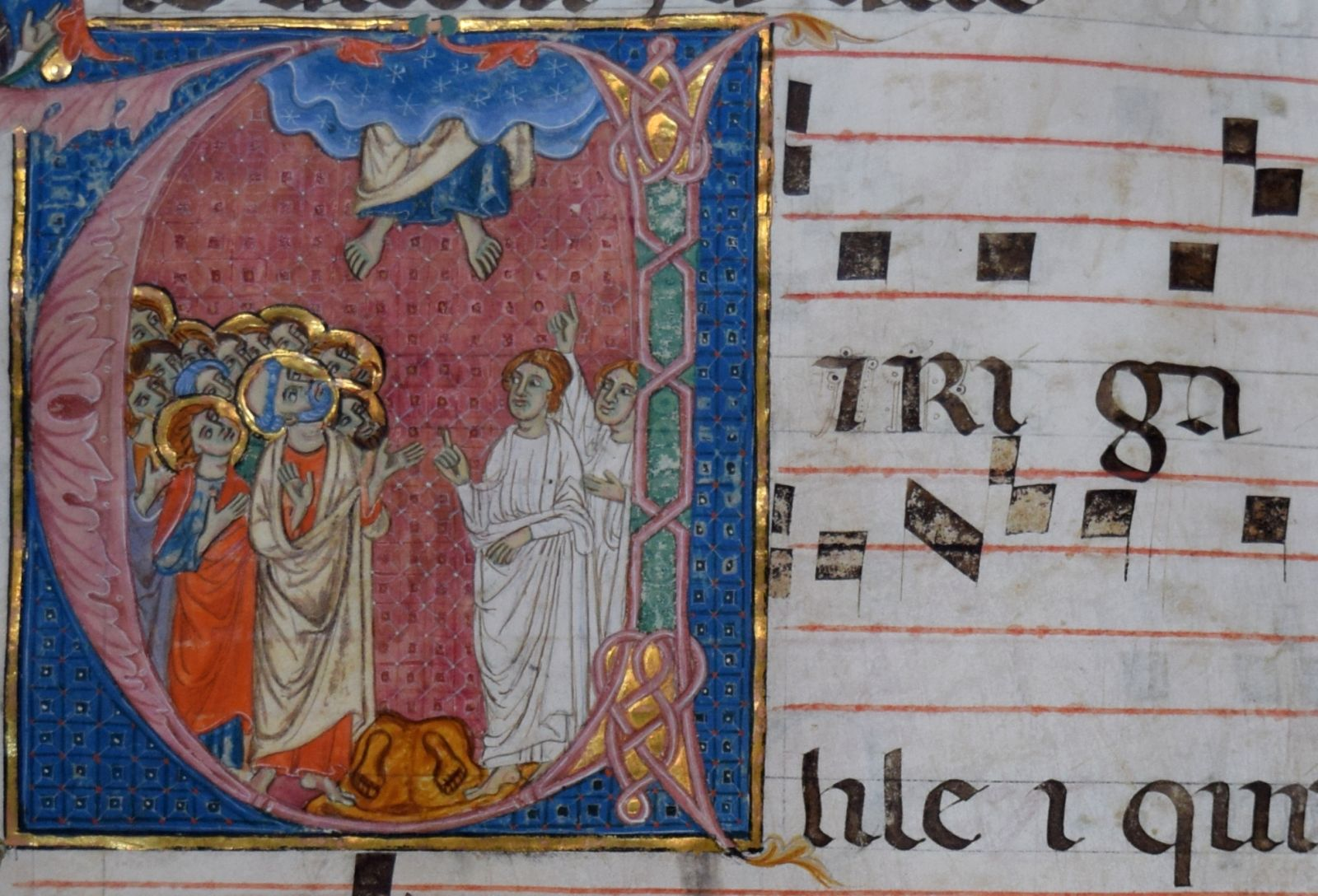 Illumination from a late 14th century choirbook. B-Bc 9287.