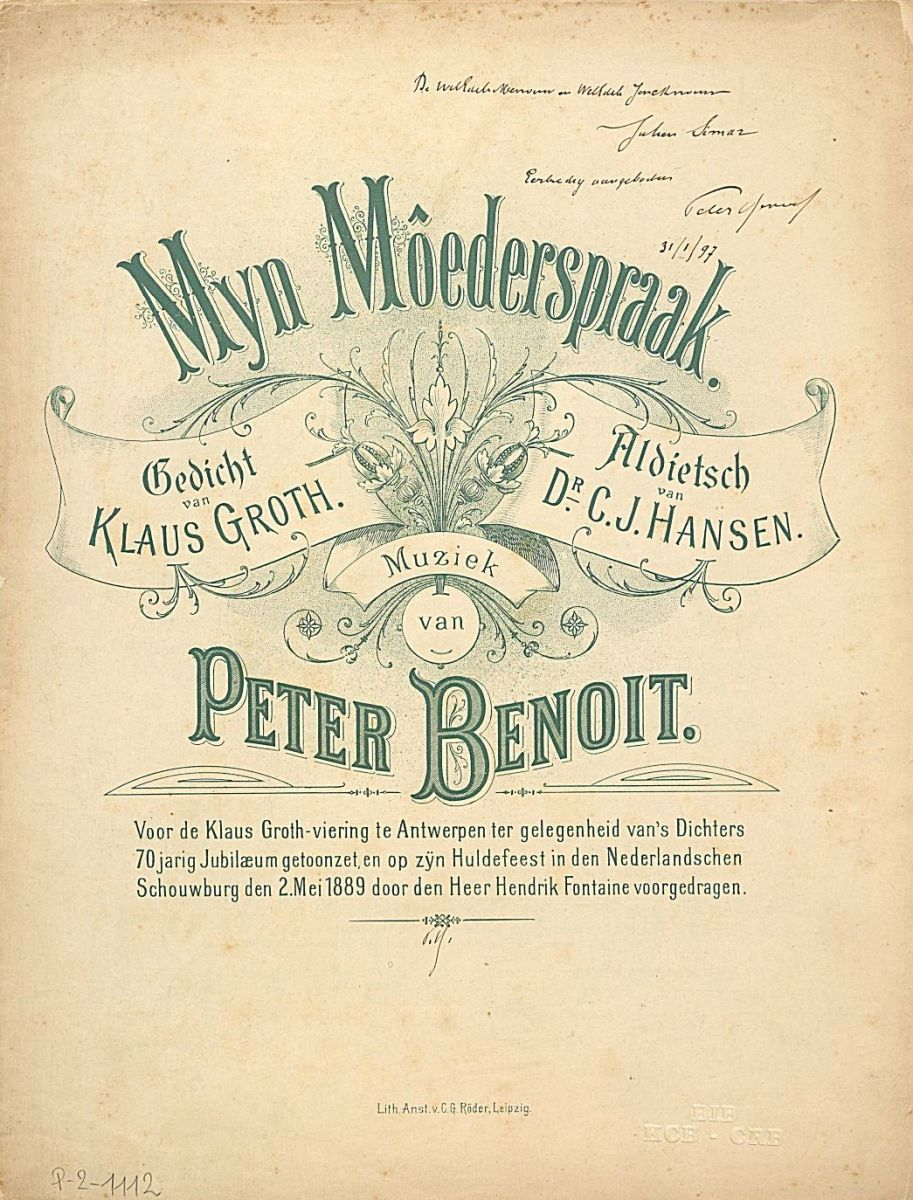 Autographed titlepage of Peter Benoit's Myn Môederspraak dated 1897 (B-Bc P-2-1112)