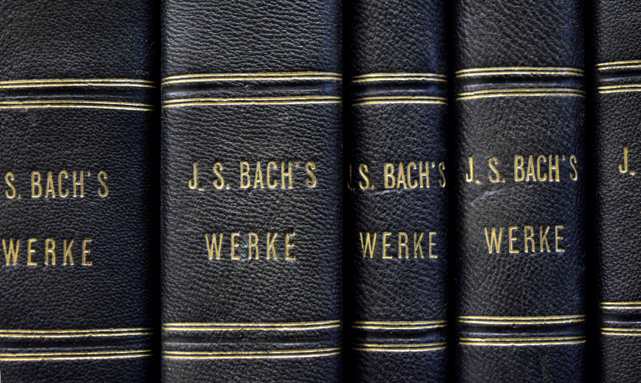 Volumes of the complete works of J. S. Bach, acquired by Rossini, 1847-1858. FEM-709.