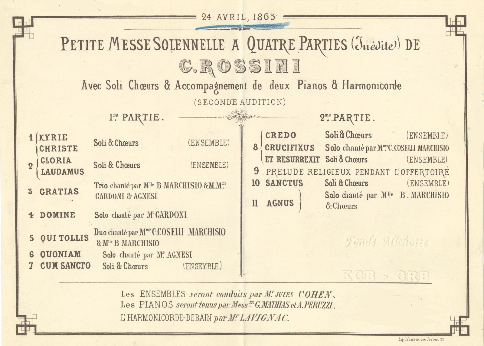 Programme of the second performance of the then not yet published 'Petite messe solennelle' on 24 April 1865. FEM-088.