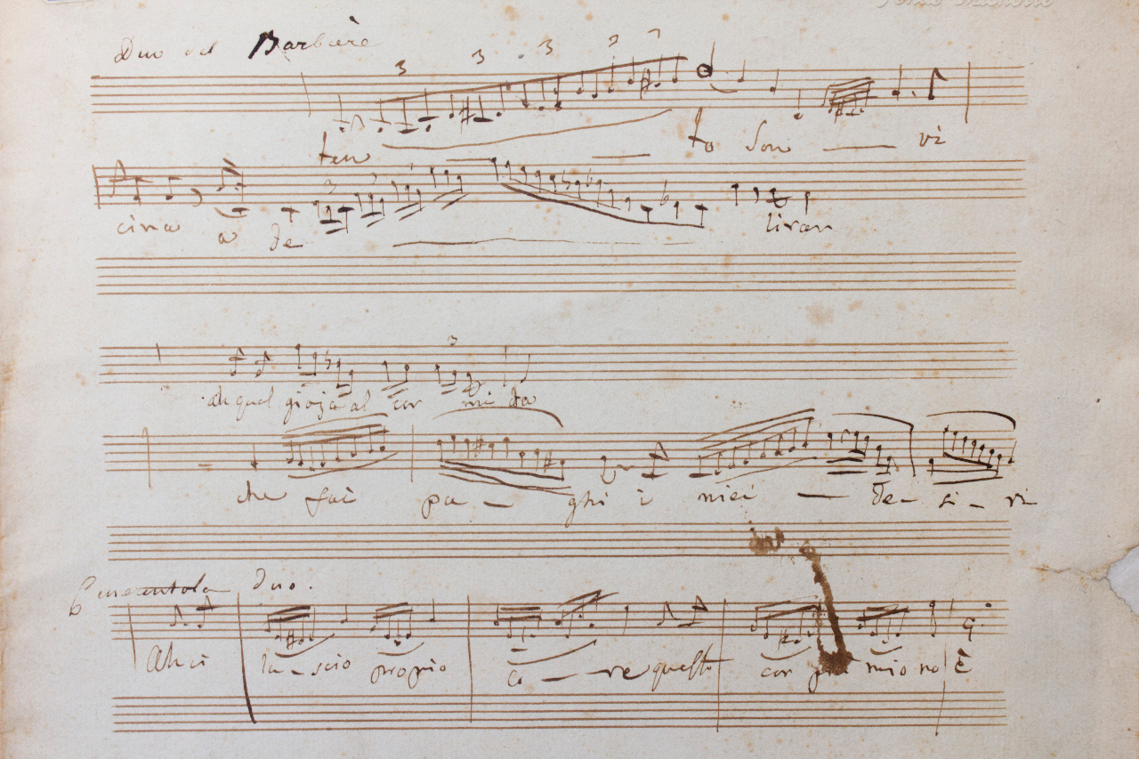 Fragment of an autograph score with several variations and cadenzas, a.o. for 'Il Barbiere di Siviglia' and fpr 'Cenerentola'. FEM-045.