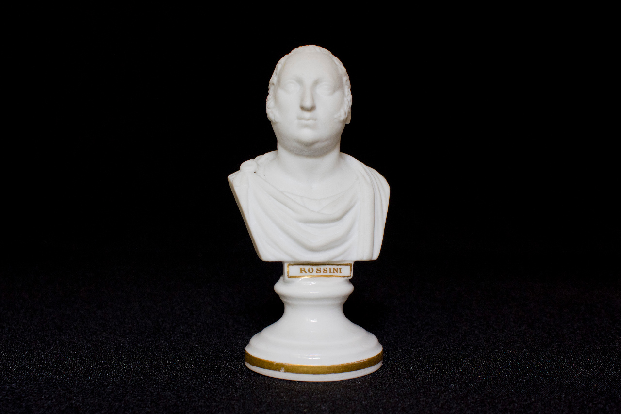 Rossini with Roman gowns, small bust from the collection Michotte. FEM-856.