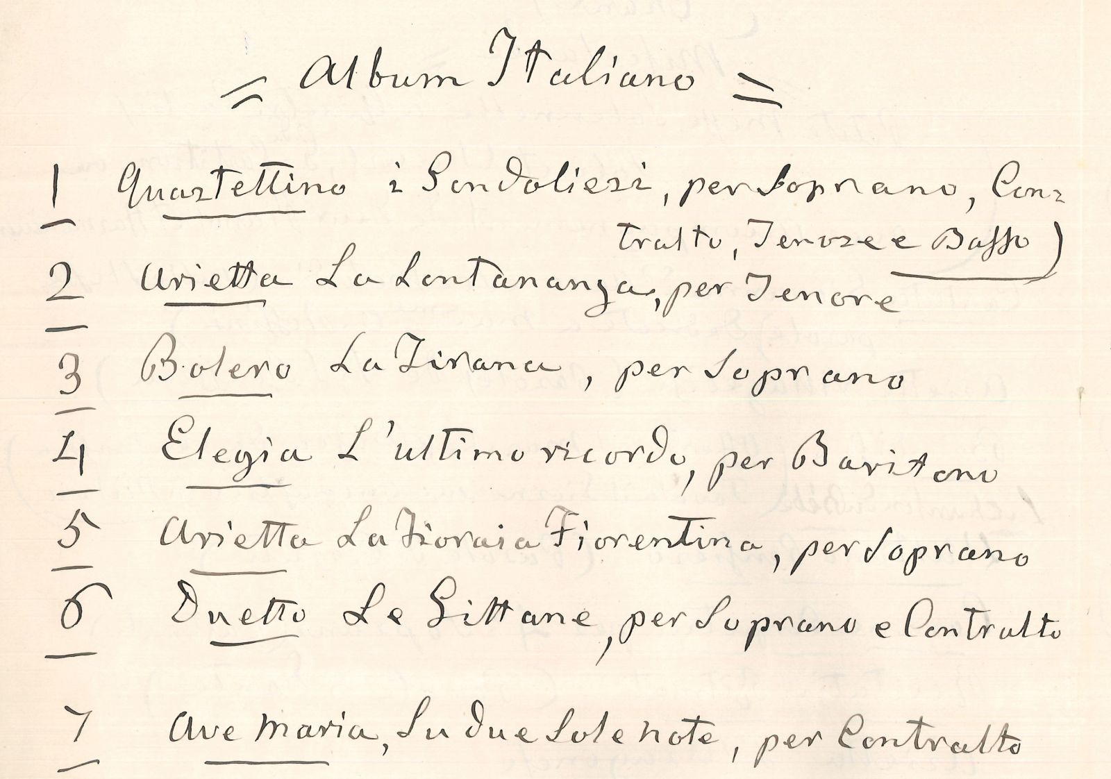 Content table of the 'Péchés de vieillesse' in Rossini's handwriting.