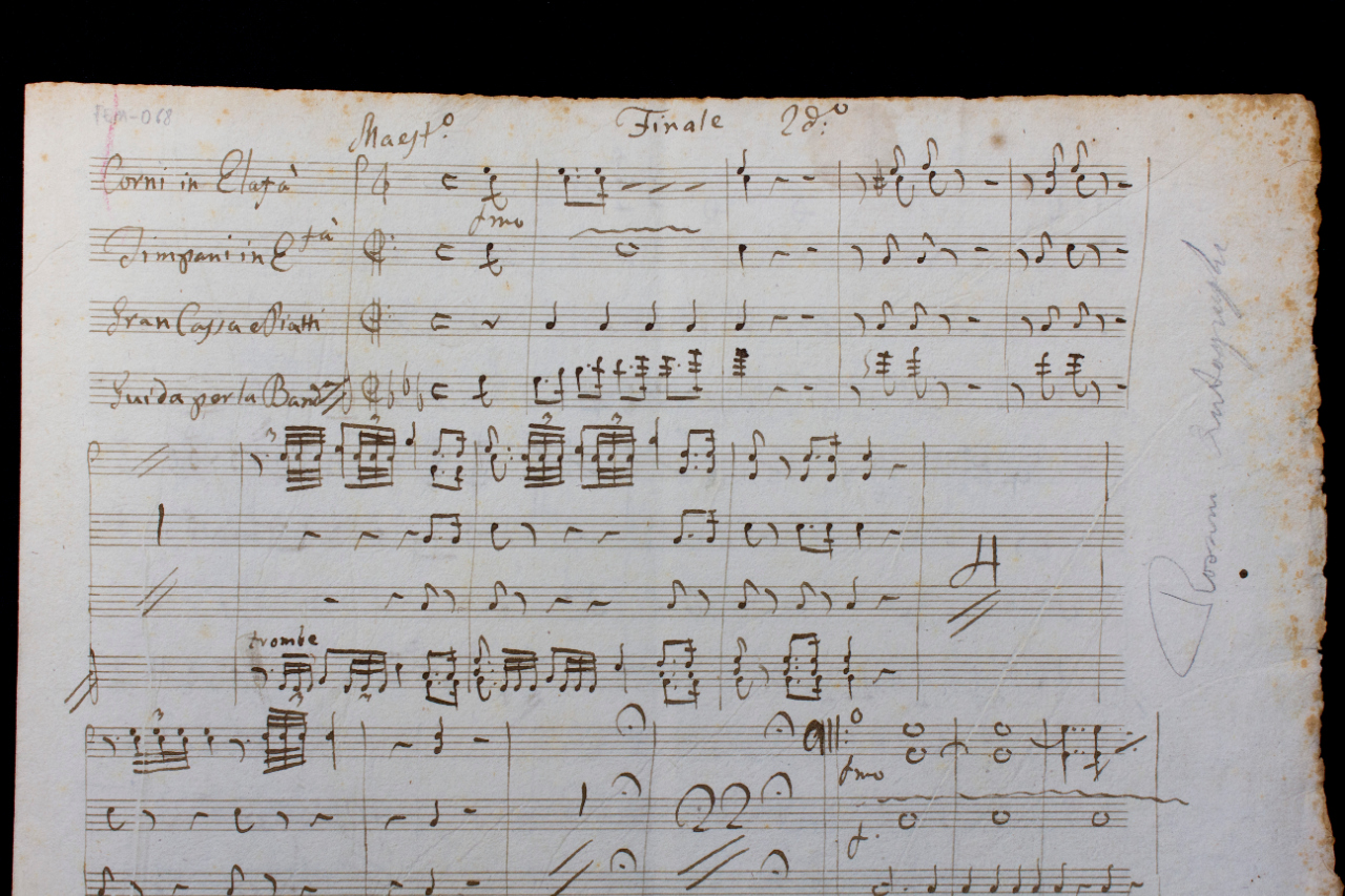 Banda for the final scene of the second act of 'Zelmira', autograph score. FEM-068.