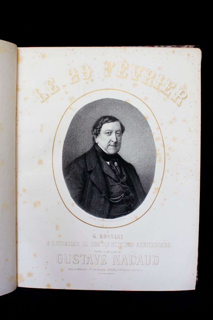 '29 February', composed by Nadaud, dedicated to Rossini for his 18th birthday. It is known that Rossini himself made many jokes about the fact that he was born in leap year. His '18th birthday' took place in 1864. FEM-606.