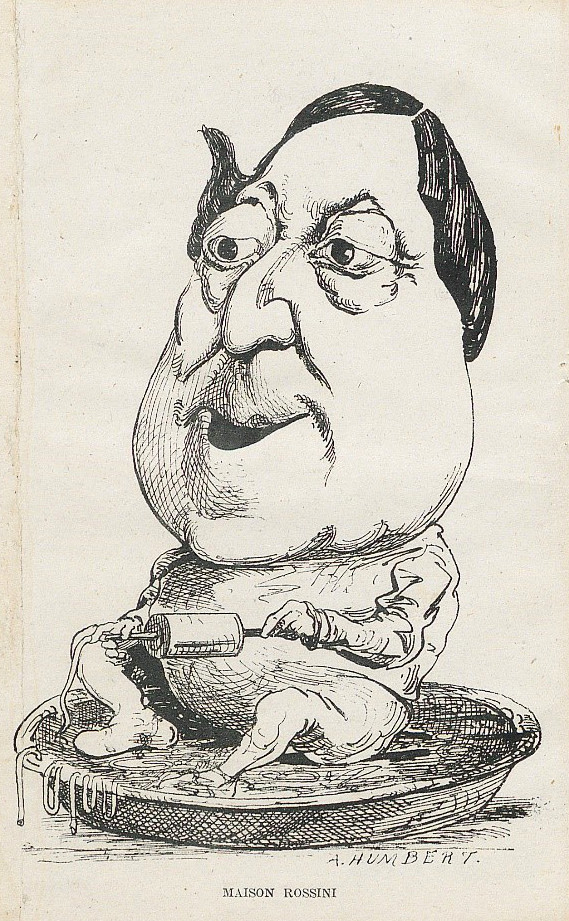 Caricature that unmistakably refers to the Italian origin and the culinary status of the composer: Rossini sits in a plate of spaghetti with a pasta mill in his hand. Signed by A. Humbert, published in 'Les maison comiques'. FEM-174.