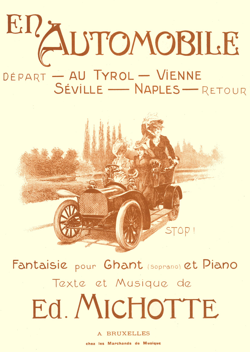 Michotte's musical  car trip. With this phantasy 'En automobile' he seems to join the style of the 'Péchés de vieillesse' of his idol Rossini. This Brussels edition from around 1890 has an attractive cover that matches the theme of the composition. B-Bc 27095.