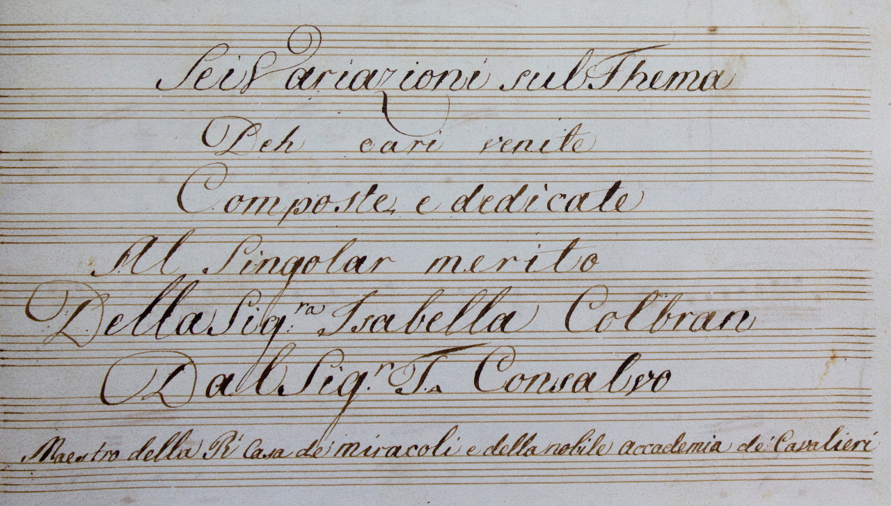 Consalvo's variations, written for La Colbran. B-Bc 12375.