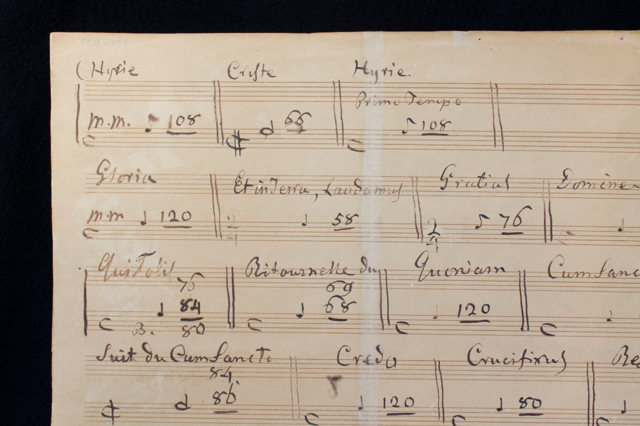 The 'Petite Messe solennelle' is generally regarded as his best work from his last period. The sheet with the metronome marks, written by Rossini himself, is a unique document that is relevant to the tempo ratios of the various parts. FEM-058.
