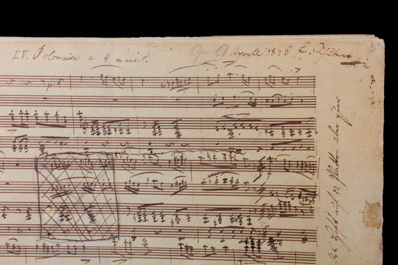 Autograph score of the '6 Polonaises' for piano four-handed by Franz Schubert, D 824. FEM-043.