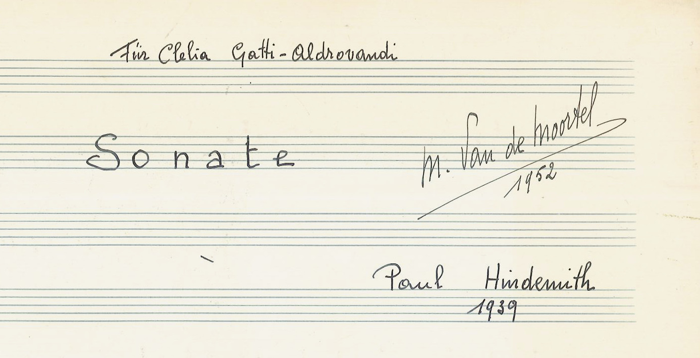 Sonata for harp by Hindemith. Manuscript copy from the collection Van de Moortel. BV-09-0029.