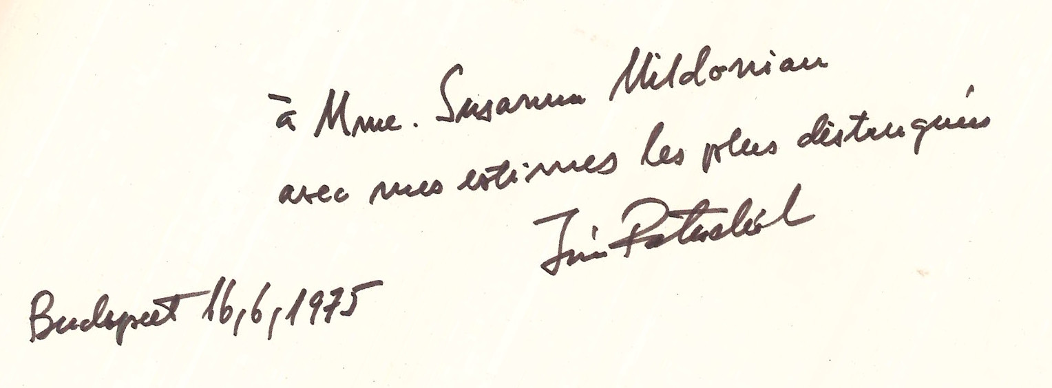 Autograph dedication by Ivan Patachichi, Budapest, 1975. E03103.