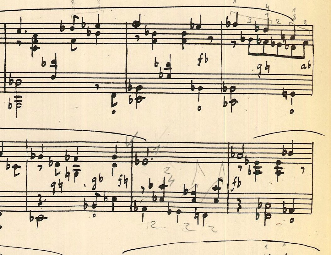 Fragment of an annotated score by Mildonian. Pour le tombeau d'Orphée by Marius Flothuis, 1950. BV-09-0004.