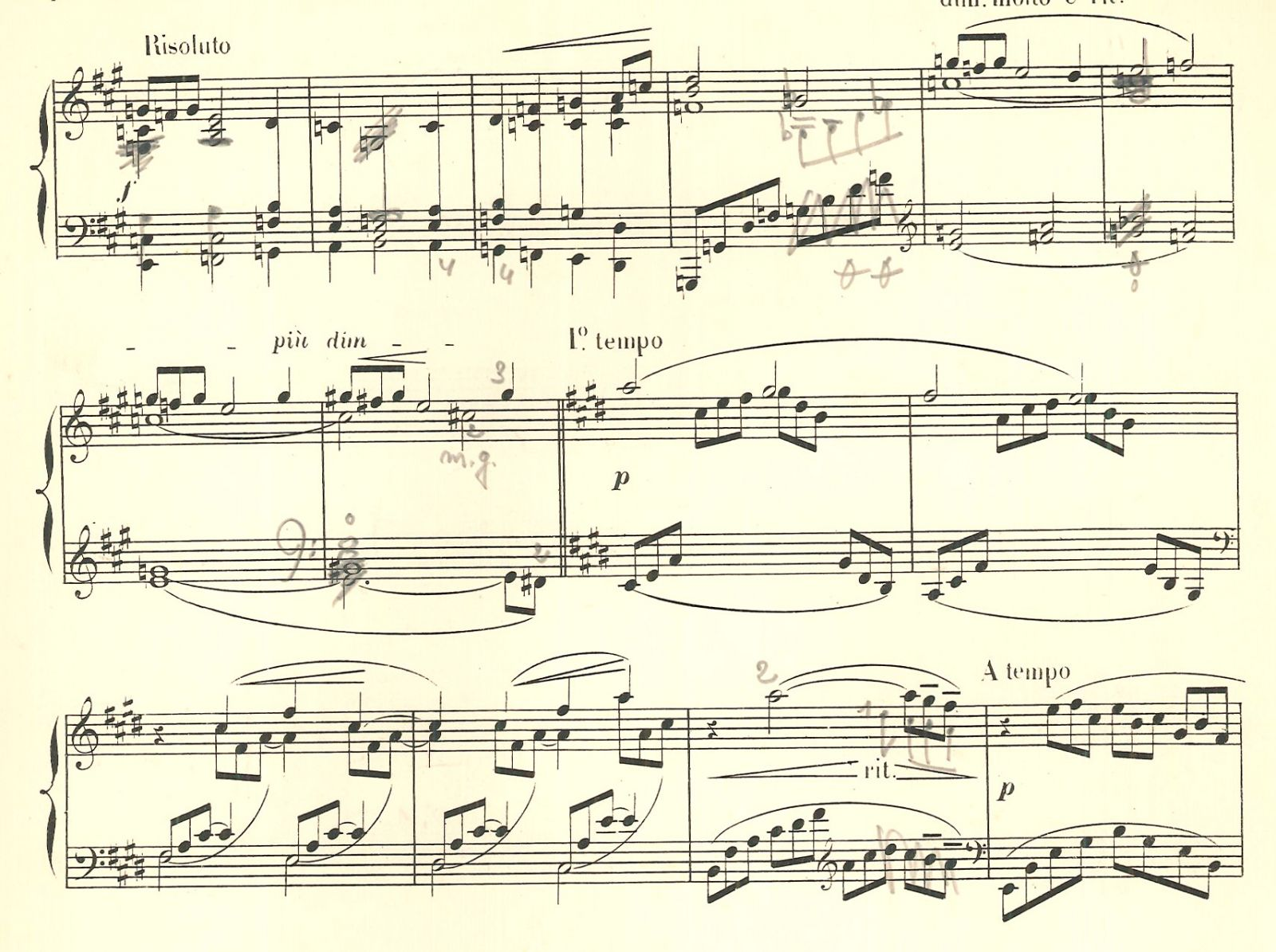Fragment of first Arabesque by Debussy, annotated by Mildonian. BV-09-0036.