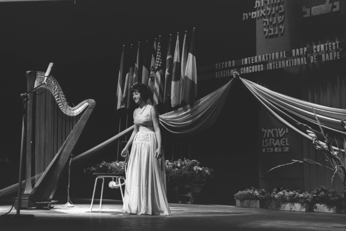 "Susanna Mildonian at the ""Second International Harp Contest in Israël"", 1959."